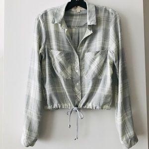 Cinched Drawstring Button Down Shirt NWOT